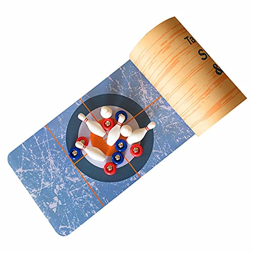 Honeytecs 3-in-1 Table Game Curling Bowling Shuffleboard Table Set Family Game for Indoor & Outdoor Entertainment