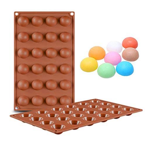 2 Piezas Moldes de Bombones de Silicona con 24 Cavidad - Forma de Semi Esfera Molde de Silicone para Chocolate, Caramelo de Café, Cubo de Hielo, Gelatina
