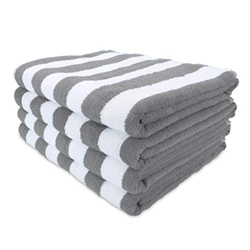 Arkwright California Cabana Striped Oversized Beach Towel Pack of 4, Ringspun Cotton Double Yarn Strength, Perfect Pool Towel, Beach Towel, Bath Towel (Extra Large 30 x 70 Inch, Grey)