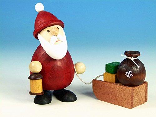 Ulrich Kunsthandwerk Weihnachtsfigur Weihnachtsmann Modern mit Laterne & Schlitten mit Sack H 5,1cm he und 5,1 cm Neu Holzfigur Weihnachtsdeko Erzgebirge