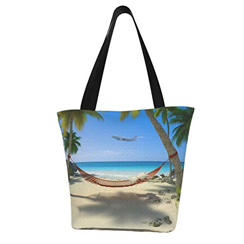 AKLID Tropical Beach (Hammock Under The Tree) Extra Large Water Resistant Canvas Tote Bag for Gym Beach Travel Reusable Grocery Shopping Portable Storage Handbags