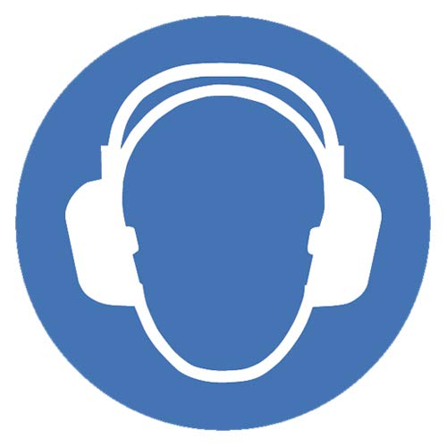 Gebotszeichen Gehörschutz benutzen Sicherheitsschild Warnschild 100mm aus Selbstklebendem PVC Betriebsausstattung