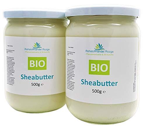 Sheabutter BIO 1 kg (2x 500 g Glas!) Shea Butter 100{001edd52d0b441473f7d462bdfbfa82981afb5cab129b8cd0d81c3b3affcbab1} rein Top Qualität Karitebutter parfümfrei & vegan