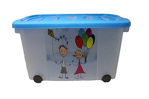 Eliware Spielzeugkiste (Multibox) mit Rollen | Kinder-Muster und blauen Deckel