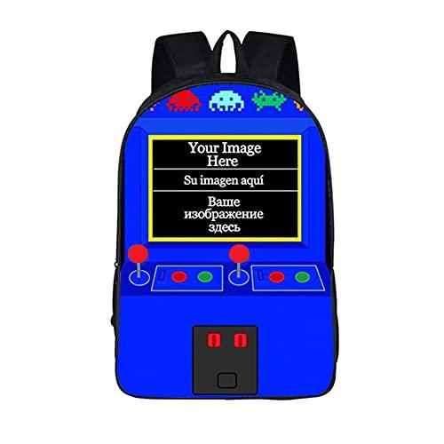 WSSSSSW Console di Gioco 3D Zainetto Gioco Caldo Zaino Stampato Zaino Scuola Elementare Materiale in Poliestere Nero Adatto A Ragazzi E Ragazze per Andare A Scuola E Uscire per Usare.