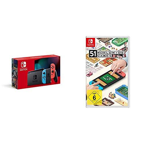 Nintendo Switch Konsole - Neon-Rot/Neon-Blau (2019 Edition) + 51 Worldwide Games