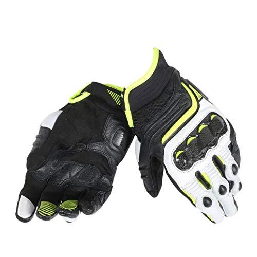 Guantes de Moto con Pantalla táctil para Hombre Guantes de Cuero con Dedos completos de Cuero Retro, Carreras de Motocross al Aire Libre, Hebilla Ajustable