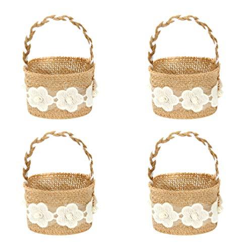 PRETYZOOM Leinen Blumenkorb Aufbewahrungshalter Blumenkorb Hochzeitsparty Korb Zubehör für Süßigkeiten Geschenk Vintage Hochzeit Weihnachtsdekorationen 4St