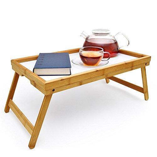 GOODS+GADGETS Frühstückstablett Bambus Bett-Tablett Serviertablett Betttisch mit klappbaren Beinen für Frühstück als Knietisch; abwaschbar; auch als Lapdesk und Notebook-Tisch verwendbar
