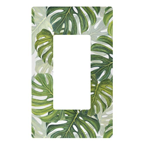 Decorative Light Switch Wall Plate Tropical Pattern Green Leaves Switch Plate Cover
