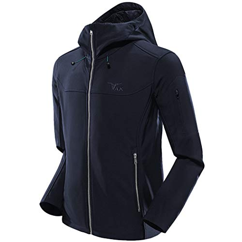 TAK Herren Softshell Jacke Wasserabweisend Übergangsjacke Outdoor Winddichte Warme Funktionsjacke mit Kapuze