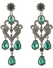 Black Metal Crystal Rhinestone Earrings Women Jewelry 4269