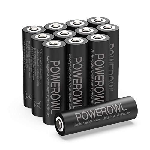 POWEROWL Solar Rechargeable AA Batteries 2800mAh, Wide Temperature Range Battery, Excellent Performance for Solar Garden Lights, Battery String Lights, Outdoor Devices - Recharge Universal (12 Count)
