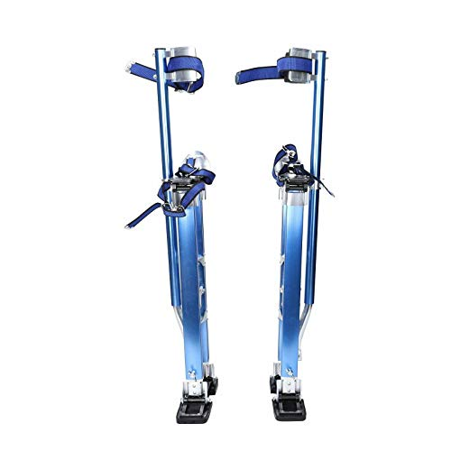 Aluminum Drywall Stilts Tool 24-40 Adjustable Height for Painting Taping Party Plastering Stilts Blue