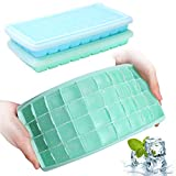 Ice Cube Trays with Lids, GDREAMT 2 Pack Silicone Ice Cube Trays Flexible and Easy Release 36 Ice Cube Molds for Whiskey, Cocktails - BPA Free, Stackable Durable, Dishwasher Safe
