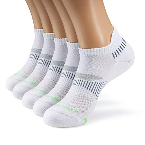 M MONFOOT 3/5/10 Pairs Athletic Running Cushioned Silky Dry Heel Tab Ankle / Quarter Crew Socks for Men and Women