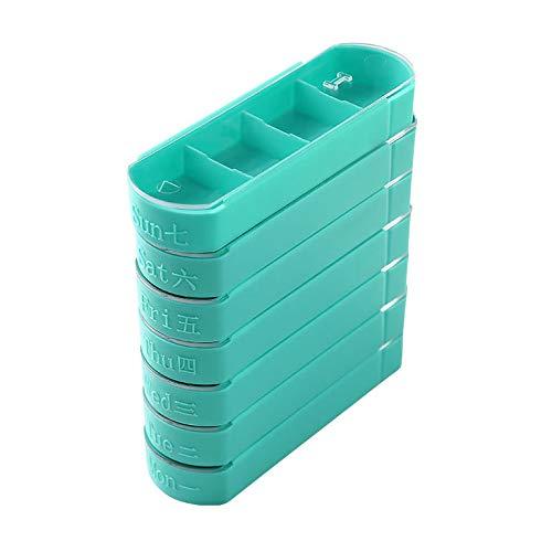 Portapíldoras portátil, contenedor de viaje apilable del organizador de la medicina de casa semanal de 7 días