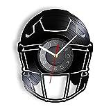 GVSPMOND El Reloj de Pared con Casco de fútbol Americano está Hecho de Discos de Vinilo Reales.Equipo de fútbol.Los Relojes de Pared Modernos Son un Regalo para los Deportistas.