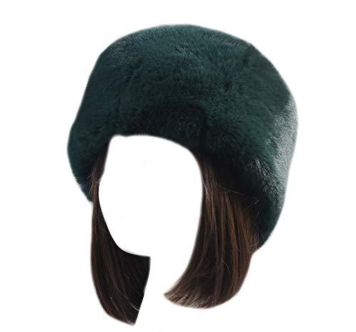 ASKEN Damen Kunstpelz Hut Stretch Kosaken Winter Beanie Russische Dicken Kopf wickeln Wärmer Deep Green