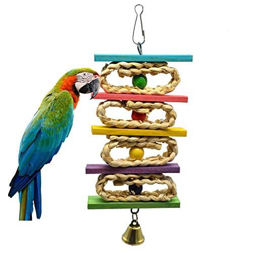 OSPet - Hamaca de juguete para masticar loro con campanas de madera colorida para colgar, jaula de loro, perca para masticar mascotas para pjaros pequeos y medianos