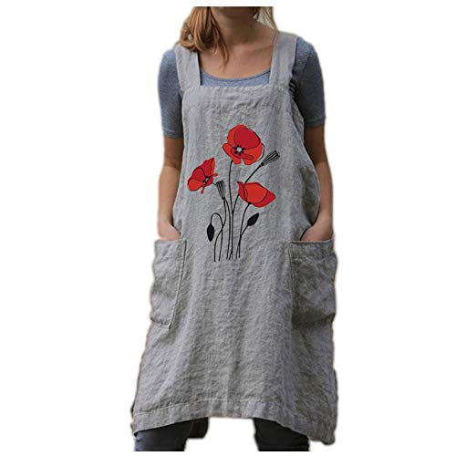 OLOPE Apron Dress Women's Pinafore Square Apron Baking Cooking Gardening Works Cross Back Cotton/Linen Blend Dress with 2 Pockets Apron Cross Back Apron with Pockets Pinafore Dress