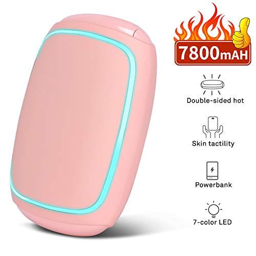 Peyou Handwärmer, wiederaufladbar, 3 in 1, USB, Handwärmer, elektrisch, 7800 mAh, Powerbank, tragbar, externer Akku, mit 7-farbiger LED-Beleuchtung, Taschenwärmer, perfektes Geschenk für den Winter
