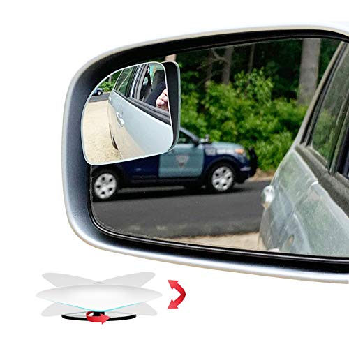 Ampper Fan Shape Blind Spot Mirror, HD Glass Frameless Stick on Adjustabe Few Convex Wide Angle Rear View Mirror for Car…