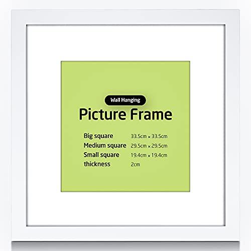 30 x 30 cm Marco de fotos para rellenar, marco de objeto con corazones de madera, marco de fotos con cristal acrílico irrompible, ideal para carteles, retratos, fotos, pintura (color blanco)
