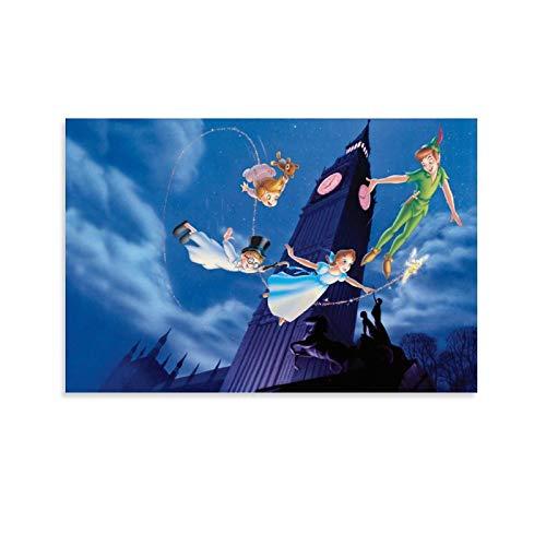 OIIP Póster de Big Ben Peter Pan decorativo, lienzo para pared, sala de estar, póster para dormitorio, 30 x 45 cm