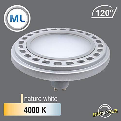 Qpar111 LED Leuchtmittel 12W GU10 4000K neutralweiß 230V 900lm Chrom Matt Raumlicht 120° Abstrahlwinkel dimmbar - ersetzt 90W Halogen