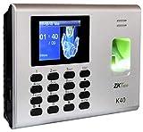 Reloj checador control de asistencia y acceso de huella digital ZKTeco K40 software gratis RJ45 hecho en México para 100 empleados y 1000 huellas; se pueden descargar los registros en Excel por puerto USB; con control de acceso para la apertura de una puerta; en caso de falla eléctrica cuenta con batería de respaldo; menú e indicaciones de voz en español.
