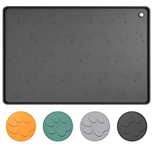 ME.FAN Dog Food Mat[24″x16″] Large Pet Food Mat – Nonslip Silicone Dog Bowl Mat – Washable Dog Feeding Mat for Food and Water, Waterproof Dog Food Mats for Floors