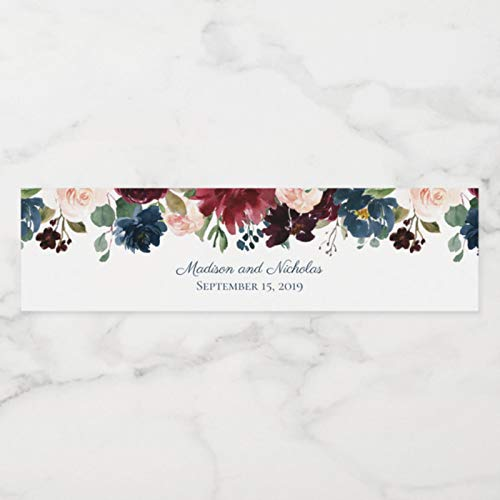 24 Pieces, Custom Personalized Floral Wedding Water Bottle Labels, Stickers, Birthday, Anniversary, Bride Show, Graduation