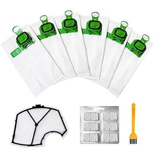iPatio Kit Sacchetti Accessori per Aspirapolvere Compatibile per Vorwerk Folletto VK140 VK150 6 Sacchetti +1 Filtro Motore + 6 Profumi +1 Spazzole per la Pulizia