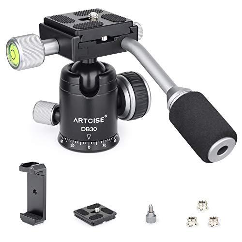 Stativkugelkopf mit Griff, ARTCISE D30T Ganzmetall-CNC-Panorama-Einbeinstativ-Kugelkopf-Kamerahalterung mit 2 1/4