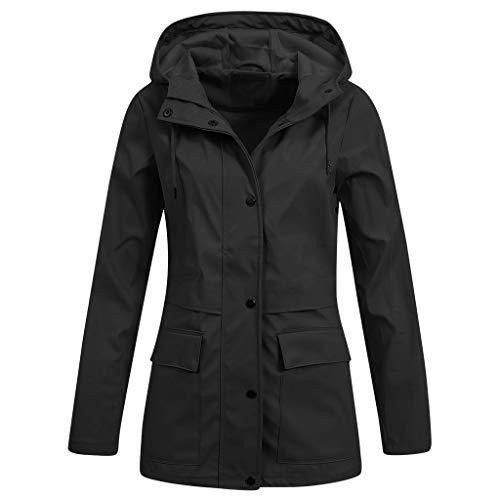iHENGH Damen Frühling Herbst Bequem Mantel Lässig Mode Jacke Frauen Feste Regenjacke im Freien Plus wasserdichter mit Kapuze Regenmantel Winddicht(Schwarz-3, S)