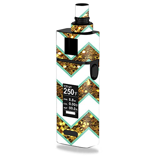 MightySkins Skin Compatible with JoyeTech Cuboid Mini 80W – Glitzy Chevron | Protective, Durable, and Unique Vinyl Decal wrap Cover | Easy to Apply, Remove, and Change Styles | Made in The USA