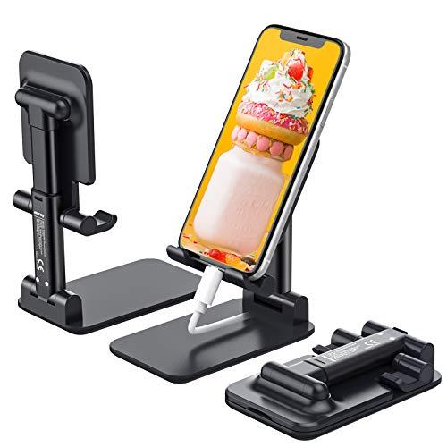 Anozer Handy Ständer faltbar, Schreibtisch Handy Halterung höhenverstellbar, Handyhalterung Multiwinkel, Halter Ständer kompatibel mit iPhone 12/12 Pro Max/12 Mini/11 Pro, X, 8, SE, Samsung