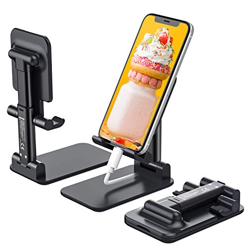 Anozer Soporte Teléfono Plegable, Multiángulo Soporte Móvil Mesa con Almohadilla de Silicona Antideslizante, Soporte Dock Base para iPhone 12/12 Pro MAX/Samsung/Xiaomi/PSP/iPad Mini/Switch/Kindle