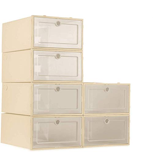 ZODDLE Foldable Stackable Shoe Storage Boxes - Assembleable Shoe Organizer Container 6 Pack, Need to be Assembled