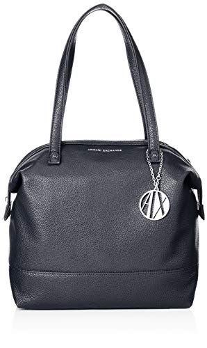 Armani Exchange Damen Tote Bag Leather, Blau (Navy), 31x16x52 cm