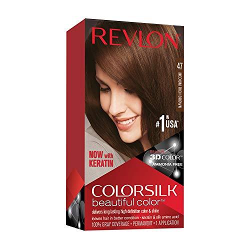 Revlon Colorsilk Beautiful Color Permanent Hair Color with 3D Gel Technology & Keratin, 100% Gray Coverage Hair Dye, 47 Medium Rich Brown