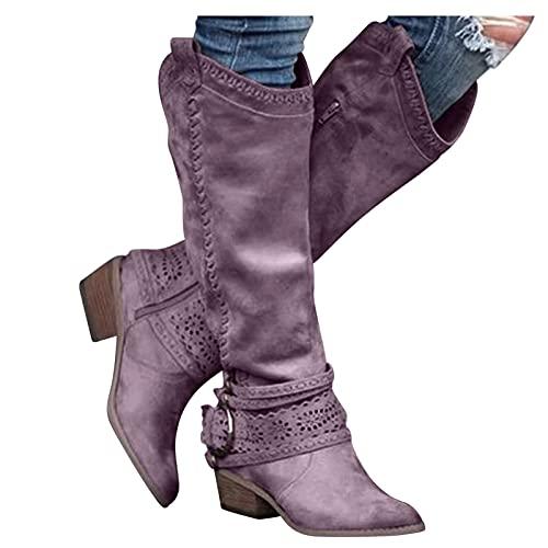 Dasongff Stivali alti da donna con tacco lungo, sexy, da neve, da donna, impermeabili, classici, da cowboy, comodi stivali tattici vintage