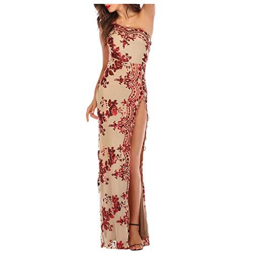 Yunisu Women Print V-Neck Sleeveless Ankle-Length Sexy & Club Formal Wedding Bridesmaid Long Ball Prom Gown Cocktail Dress Red