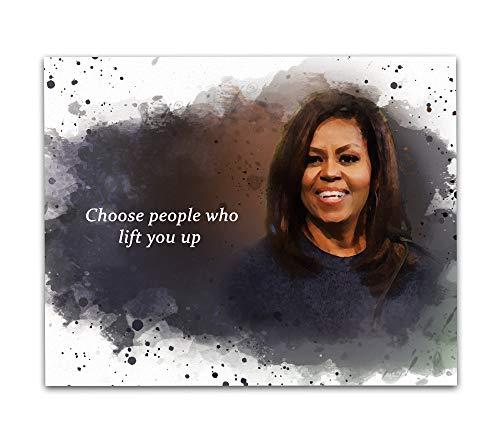 Arte de parede citação Michelle Obama, 20,32 x 25,4 cm Impressão artística emoldurada Un – Famosa decoração de parede feminina preta história primeira dama Obama sala de aula, ideal para meninas, mulheres, bibliotecários, historiadores e professores