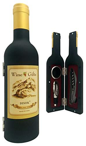 DISOK - Set Botella Vino 3 Piezas en Caja de PVC de Regalo