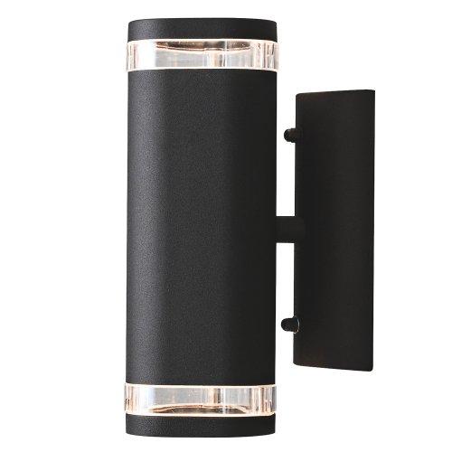 Konstsmide 7512-750 Modena - Lámpara de Pared (9 x 14,5 x 23,5 cm, 2 Bombillas de 35 W, IP 44, Aluminio Lacado), Color Negro Mate