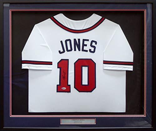 Atlanta Braves Chipper Jones Autographed Framed White Jersey Beckett BAS