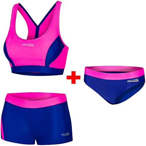 Aqua Speed Damen Sport Bikini Set + Bikinihose | Two Piece Swimsuit Fitness | sportliche Bademode | Schwimmbikini | Zweiteiler Pool | Bustier | Schwimmbad | Gr. 40, 43 Neon Pink - Navy | Fiona