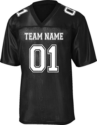 Custom Replica/Practice Football Jersey (Unisex, Youth/Adult) - Add Your Team, Name, and Number Black